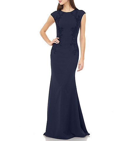 Carmen Marc Valvo Beaded Cap Sleeve Gown