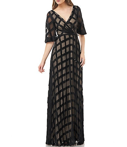 Carmen Marc Valvo Chiffon Windowpane Surplice V-Neck Faux Wrap Gown