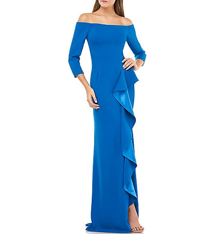 Carmen Marc Valvo Crepe Off-The-Shoulder 3/4 Sleeve Cascading Front Ruffle Column Gown