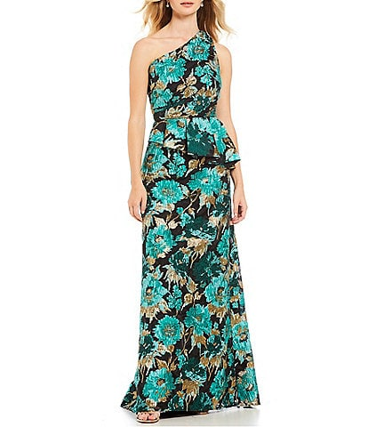 Carmen Marc Valvo Infusion One Shoulder Floral Print Organza Gown
