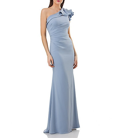 Carmen Marc Valvo Infusion One-Shoulder Ruffled Crepe Gown