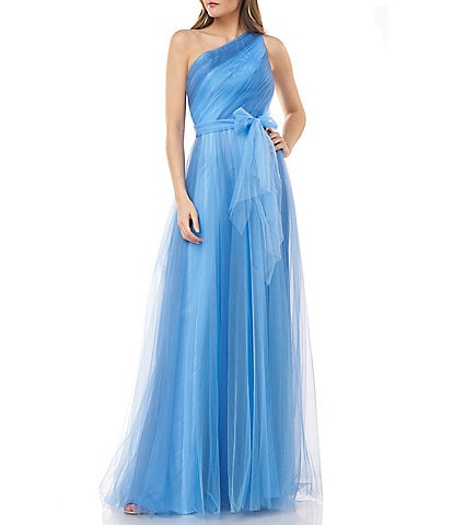 Carmen Marc Valvo One Shoulder Bow Detail Tulle Ombre Ballgown