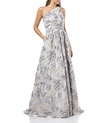Carmen Marc Valvo One Shoulder Floral Embroidery Organza Ballgown