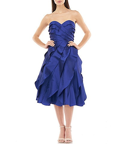 Carmen Marc Valvo Textured Ruffle Sweetheart Taffeta A-Line Dress