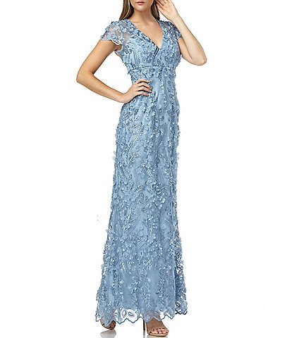 Carmen Marc Valvo V-Neck 3D Fleurette Illusion Sleeve Gown