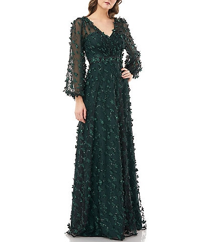 Carmen Marc Valvo V-Neck Long Sheer Pouf Sleeve 3-D Novelty Petal Detail Gown