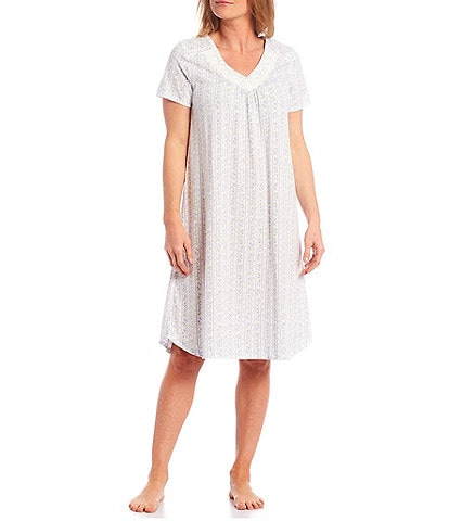 Carole Hochman Floral & Striped Print Short Sleeve Jersey Long Nightgown