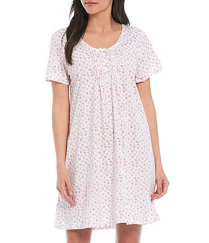 Carole Hochman Floral Bud Printed Jersey Knit Short Nightgown