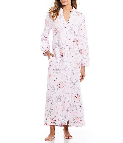 Carole Hochman Floral-Print Diamond Quilted Long Zip-Front Robe