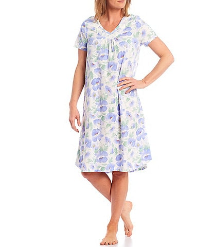 Carole Hochman Large Floral Print Short Sleeve Jersey Long Nightgown