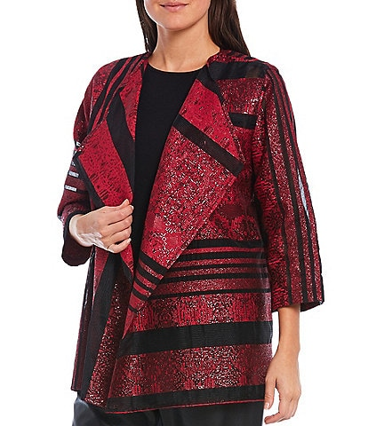 Caroline Rose Breezy Sheer-Stripe 3/4 Sleeve Open Front Jacket