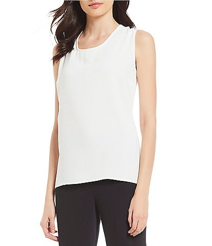 Caroline Rose Sleeveless Scoop Neck Crepe Tank