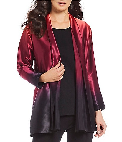Caroline Rose Draped Neck Ombre Open Front Silk Jacket