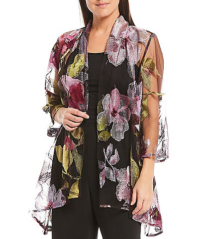 Caroline Rose Embroidered Blooms A-Line Swing Cardigan