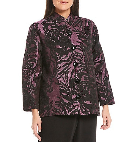 Caroline Rose Feeling Fall Mandarin Collar Bracelet Sleeve Floral Jacquard Jacket
