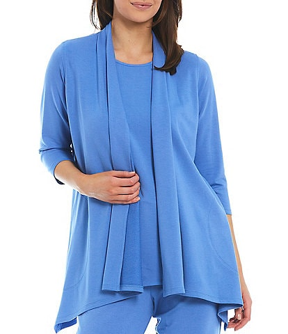 Caroline Rose French Terry Bamboo Side Draped Cardigan