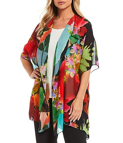 Caroline Rose Georgette Floral Print Short Sleeve Draped Caftan