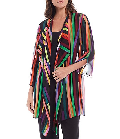 Caroline Rose Living Color Stripe Georgette 3/4 Sleeve Soft-Draped Jacket