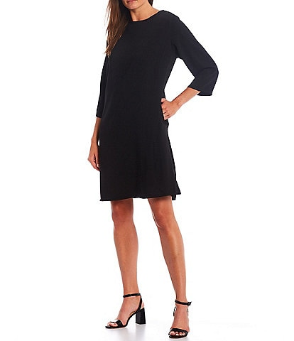 Caroline Rose Matte Crepe Crew Neck 3/4 Sleeve Shift Dress