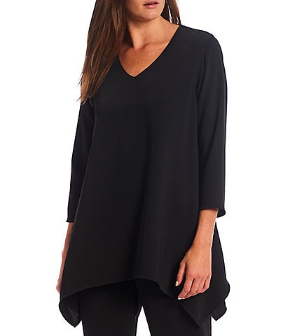 Caroline Rose Matte Crepe V-Neck Side Drape Swing Tunic