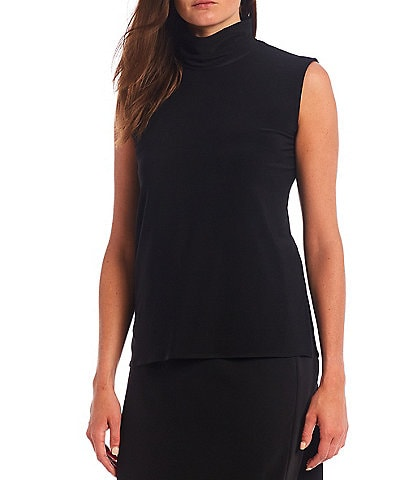 Caroline Rose Stretch Knit Jersey Mock Neck Sleeveless Shell