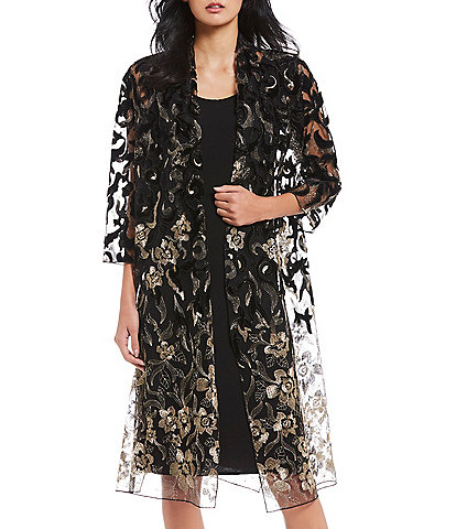 Caroline Rose Velvet Metallic Lace Duster Open Jacket