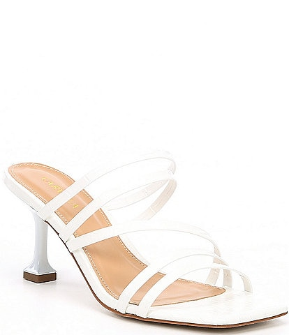 Carvela Glory Square Toe Croc Embossed Strappy Leather Slides