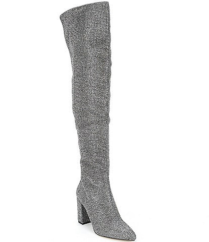 Carvela Shine Over-The-Knee Rhinestone Embellished Block Heel Boots