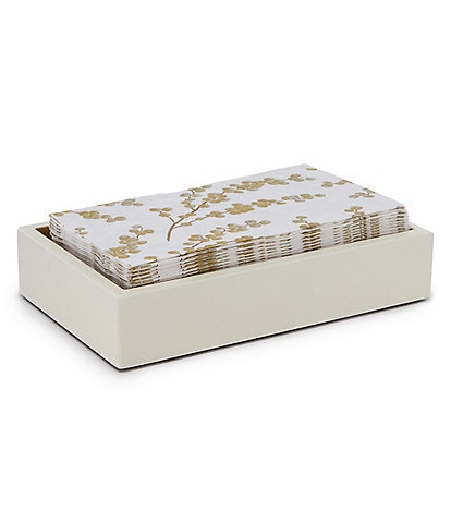 Caspari Berry Branches Paper Guest Towel & Ivory/Gold Lacquer Holder Set