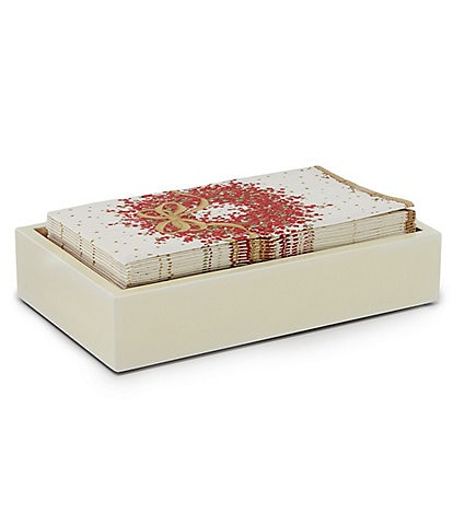 Caspari Pepperberry Paper Guest Towel & Ivory/Gold Lacquer Holder Set