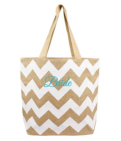 Cathy's Concepts Bride-Embroidered Chevron Jute Tote