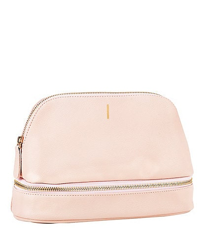 Cathy's Concepts Embossed Blush Pink Vegan Leather Travel Case