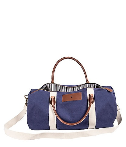 Cathy s Concepts Initial Canvas   Leather Blue Duffel Bag b595eb7bff1a9