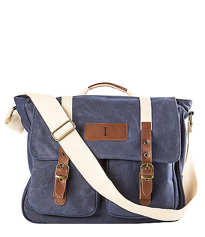 Cathy's Concepts Initial Canvas Navy Messenger Bag