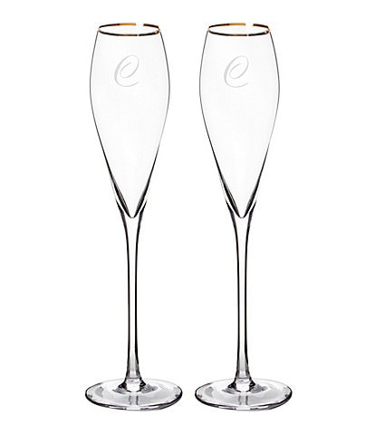 Cathy's Concepts Initial Champagne Flutes, Set of 2