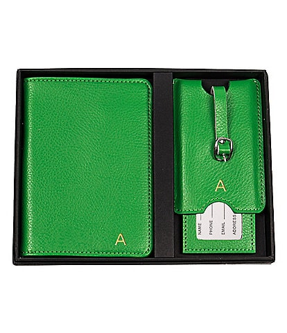 Cathy's Concepts Initial Green Passport Holder & Luggage Tag Set
