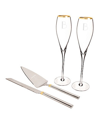 Cathy's Concepts Initial Wedding Champagne Flutes & Cake Serving Set