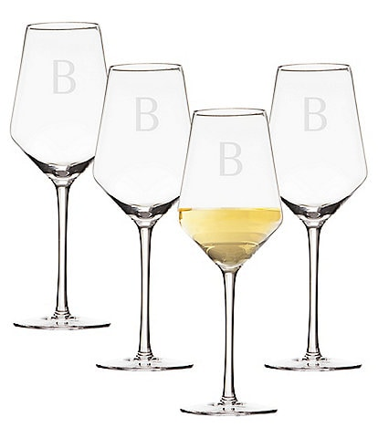 Cathy's Concepts Initial White Wine Estate Glass Set of 4