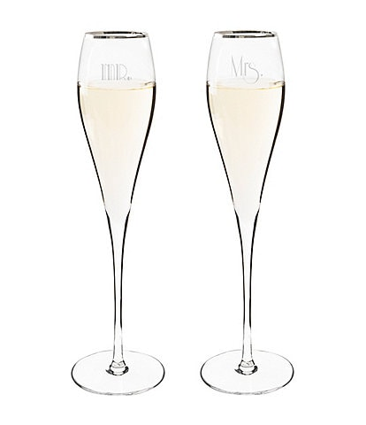 Cathy's Concepts Mr. & Mrs. Gatsby Silver Rim Flutes