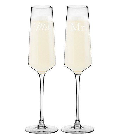 Cathy's Concepts Mr. and Mrs. Wedding Champagne Estate Glasses