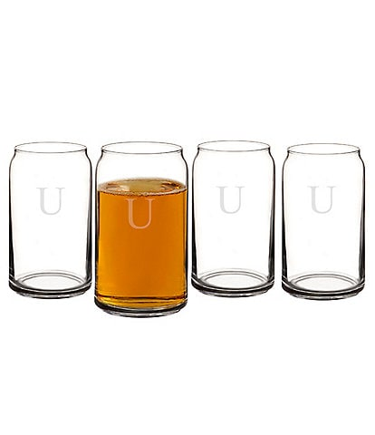 Cathy's Concepts Initial 16 oz. Craft Beer Can Glasses (Set of 4)