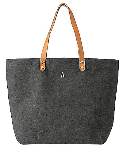 Cathy's Concepts Personalized Black Canvas Tote Bag With Leather Handles
