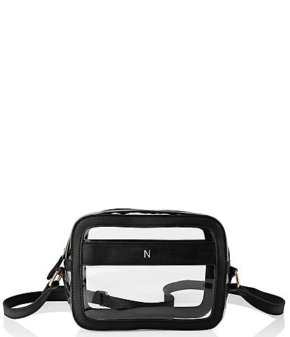 Cathy's Concepts Personalized Black Clear Vegan Leather Stadium Crossbody