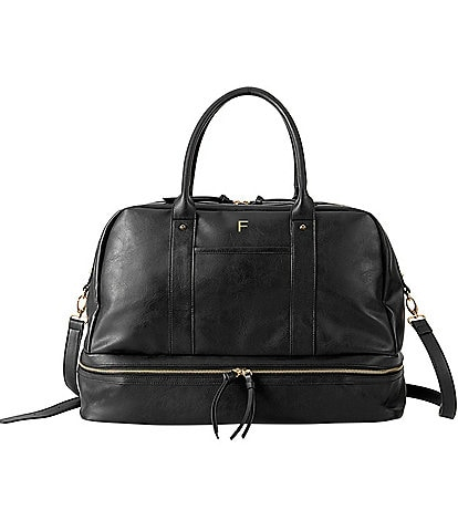 Cathy's Concepts Personalized Black Vegan Leather Transport Duffel Bag
