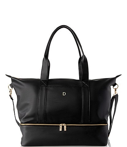 Cathy's Concepts Personalized Black Vegan Leather Weekender with Safety Tool