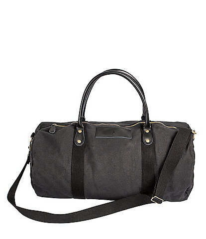 Cathy's Concepts Initial Canvas & Leather Black Duffel Bag
