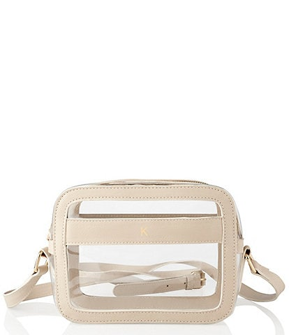 Cathy's Concepts Personalized Cream Clear Vegan Leather Stadium Crossbody Bag