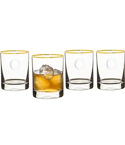 Cathy's Concepts Initial Gold Rim Whiskey Glasses