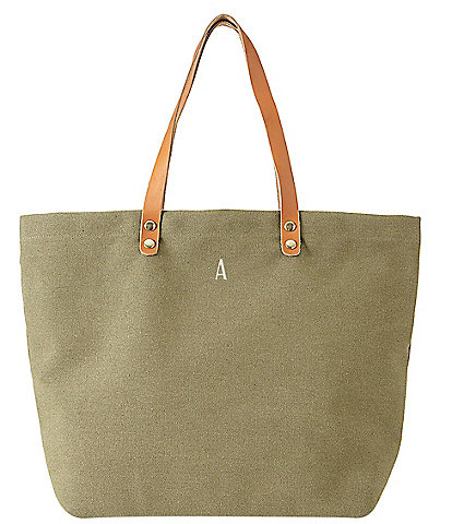 Cathy's Concepts Personalized Green Canvas Tote Bag With Leather Handles