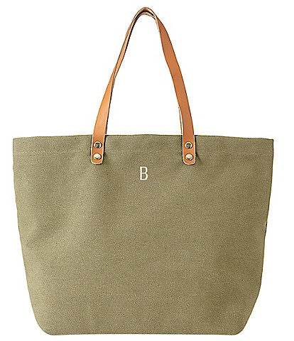 Cathy's Concepts Personalized Green Canvas Tote With Leather Handles